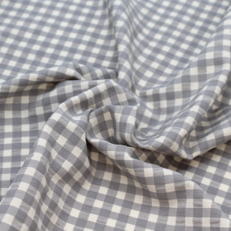 Seersucker / Coton gaufré vichy moyen gris écru