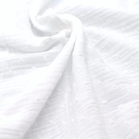 Double gaze de coton BIO unie blanc plumetis