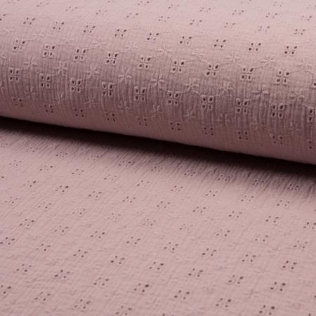 Double gaze de coton brodée coloris rose fané