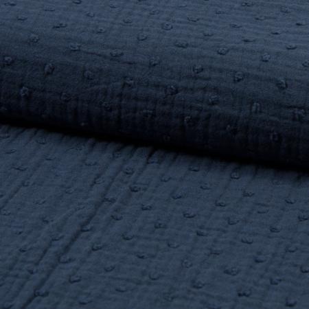 Double gaze de coton BIO plumetis bleu orage
