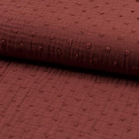 Double gaze de coton plumetis terre de sienne