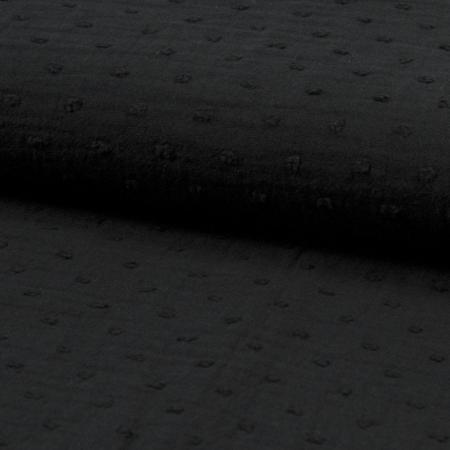 Double gaze de coton plumetis noir