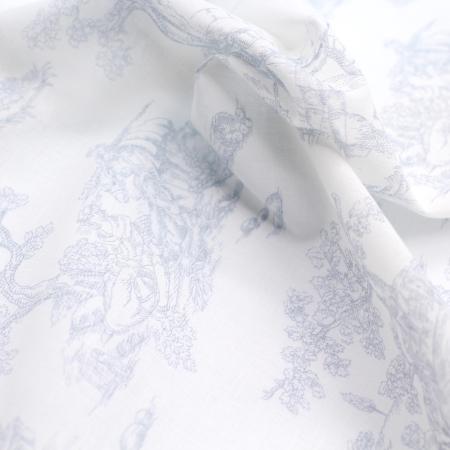 Voile de coton BIO imprimé toile de Jouy bleu brume