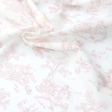 Voile de coton BIO imprimé toile de Jouy rose boudoir