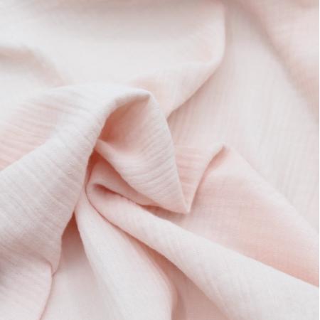 Double gaze de coton BIO unie rose nude