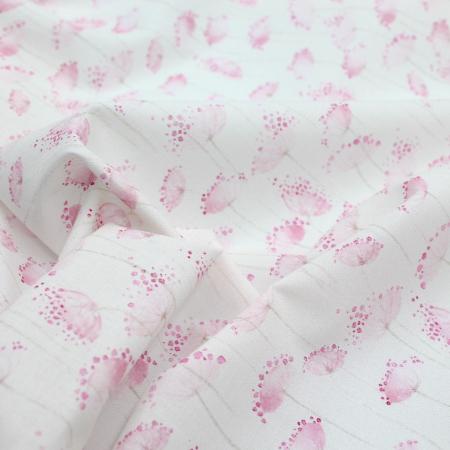 Batiste de coton BIO imprimé fleuri rose aquarelle