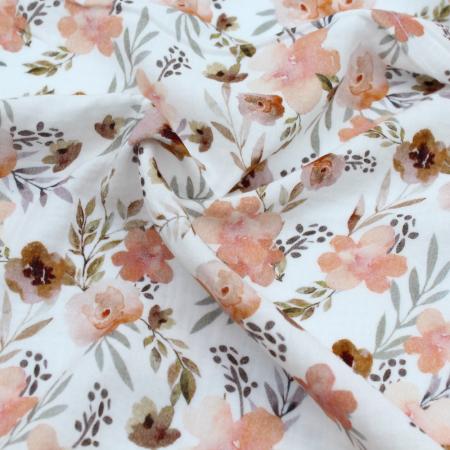 Double gaze de coton imprimé fleuri aquarelle fond BLANC