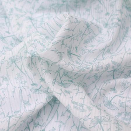 ** Voile de coton organique rayé imprimé fleuri vert d'eau