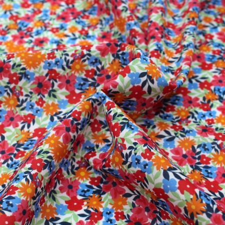Batiste de coton BIO imprimé fleuri