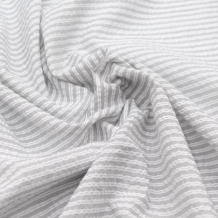 Mélange Coton gaufré à rayures coloris gris clair