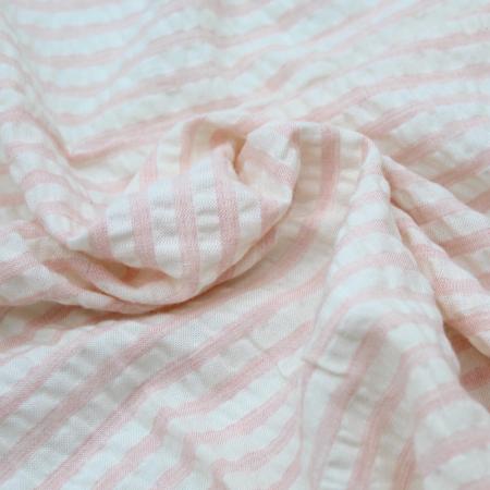 Tissu viscose effet lin à rayures