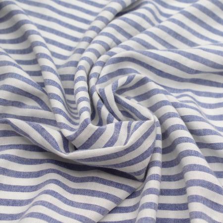 Tissu viscose effet lin à rayures bleu jean