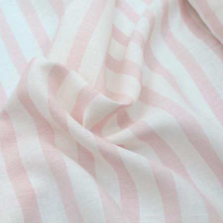 Tissu lin viscose à rayures rose poudré