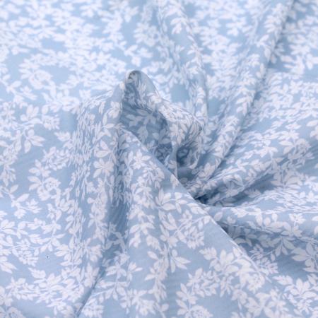 Voile de coton organique rayé imprimé fleuri fond bleu poudré