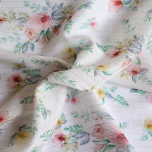 Coupon 39cm Tissu viscose Lurex motif aquarelle fleurie