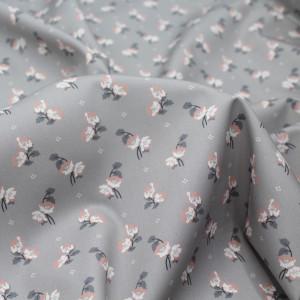 Popeline de coton BIO fine / motif fleuri exclusif Hana gris