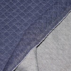 Tissu matelassé jersey coton Coloris bleu jean chiné Qualité Oeko-tex - 1- Jersey et interlock
